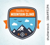 mountain climbing adventure... | Shutterstock .eps vector #186495194