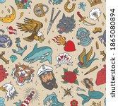 vintage nautical tattoos...   Shutterstock .eps vector #1865080894