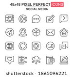 social media thin line icon set....