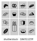 vector black bread icon set on... | Shutterstock .eps vector #186511259