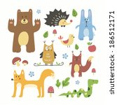 cute forest animals set | Shutterstock .eps vector #186512171