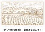 rural meadow. a village...   Shutterstock .eps vector #1865136754
