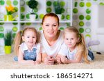 portrait of a happy mother and... | Shutterstock . vector #186514271