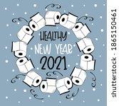 healthy new year 2021   toilet... | Shutterstock .eps vector #1865150461