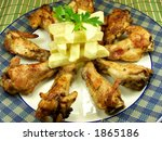 delicious and tender original buffalo wings whit french fried - stock photo