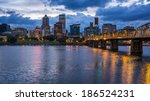 portland skyline with colorful... | Shutterstock . vector #186524231