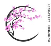 blooming cherry. sakura branch...   Shutterstock .eps vector #1865245174