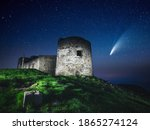 Small photo of Fantastic starry sky over the old Polish observatory on Mount Pip Ivan. Location Carpathian mountains, Ukraine, Europe. Popular touristic place. Long exposure shot. Discover the beauty of earth.