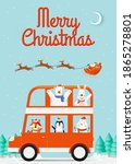 santa claus on the sleigh with... | Shutterstock .eps vector #1865278801