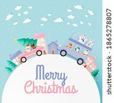 santa claus and gang of animal... | Shutterstock .eps vector #1865278807