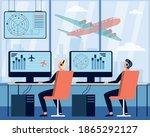 operators controlling aircraft... | Shutterstock .eps vector #1865292127