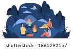 happy friends sitting near... | Shutterstock .eps vector #1865292157