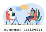 happy women sitting and talking ... | Shutterstock .eps vector #1865295811