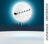 santa claus flies with gifts on ... | Shutterstock . vector #1865304214