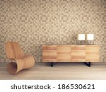 wooden lounge chair against... | Shutterstock . vector #186530621