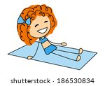 cute little girl sunbathing on... | Shutterstock .eps vector #186530834