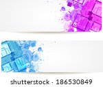 two banners with purple and... | Shutterstock .eps vector #186530849
