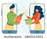 the guy and the girl... | Shutterstock .eps vector #1865313301