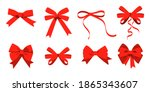 big set of red gift bows with... | Shutterstock . vector #1865343607