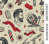 barbershop tattoos vintage... | Shutterstock .eps vector #1865353507