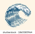 sea wave sketch. surfing... | Shutterstock .eps vector #1865385964