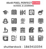 school and learning glyph icons....