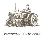 farm tractor retro sketch.... | Shutterstock .eps vector #1865429461