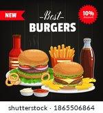 burgers and combo snacks vector ... | Shutterstock .eps vector #1865506864