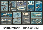 Plane flying and aircraft flight, aviation vintage retro retro posters, vector. Airplane aviators academy and pilot flights school, historic planes and aviation museum, travel and charter flights