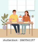 young man and smiling woman...   Shutterstock .eps vector #1865561197