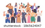 crowd of smart and strong women ... | Shutterstock .eps vector #1865624047