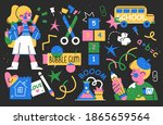 back to school collection of... | Shutterstock .eps vector #1865659564