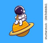 cute astronaut eating pizza on... | Shutterstock .eps vector #1865686861