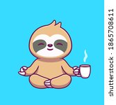 cute sloth yoga holding coffee...   Shutterstock .eps vector #1865708611