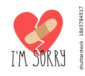 broken heart with adhesive... | Shutterstock .eps vector #1865784517