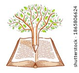 tree combined with pencil over... | Shutterstock .eps vector #1865806624