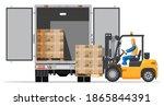forklift loading pallet boxes... | Shutterstock .eps vector #1865844391