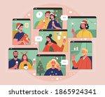 online christmas celebration.... | Shutterstock .eps vector #1865924341
