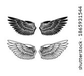 bird wing set  vector... | Shutterstock .eps vector #1865931544