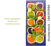 different cooking sauces in a... | Shutterstock . vector #186593984