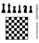 vector chess board and pieces | Shutterstock .eps vector #186596804