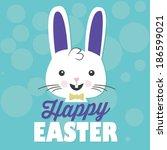 happy easter bunny rabbit vector | Shutterstock .eps vector #186599021