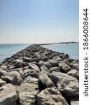 sea side view with rocks ...   Shutterstock . vector #1866008644
