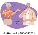 elderly couple  man and woman ... | Shutterstock .eps vector #1866030931