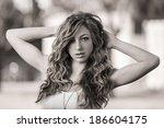portrait of a hippie looking... | Shutterstock . vector #186604175