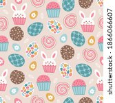 easter seamless pattern with...   Shutterstock .eps vector #1866066607