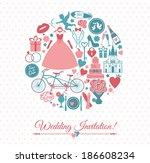 wedding card invitation | Shutterstock .eps vector #186608234