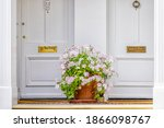 Small photo of Pink white color geranium flower basket box potted pot decoration in summer by doorstep porch of doors with mail slots and knob knockers in Chelsea, London UK window
