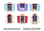 wooden windows with open... | Shutterstock .eps vector #1866102544