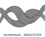 abstract waves from black lines ... | Shutterstock .eps vector #1866137224